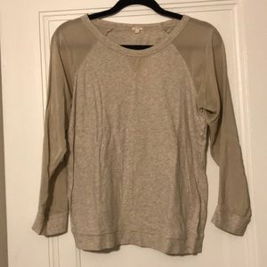 J.Crew baseball top with sheer sleeves